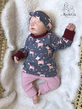 "3-teiliges Baby Newborn Set Shirt / Stirnband / gefütterte Baggy Pants Hose "" Rehlein rosa "" Größe 56"