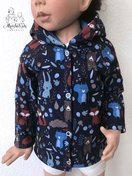 """Softshell Outdoor Baby Zipfel Jacke  """" Tiere blau """" Einzelstück Größe 80"""