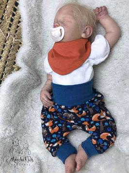 """Newborn 2-teiliges Baby Set Baggy Pants Hose mit Halstuch """" Fuchs orange """" Größe 56/62/68"""