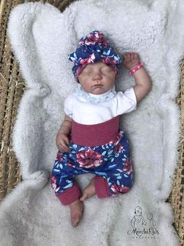 """2-teiliges Baby Newborn Set Turban Mütze mit Baggy Pants Hose """" Blumen mit Vogel """" Größe 56/62/68"""