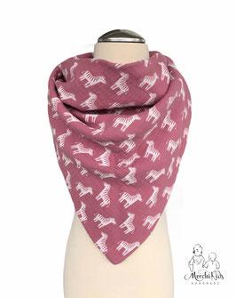 """Musselin Halstuch Dreieckstuch """" Zebra pink """" für Kinder ab 2 Jahre ca. 70 x 115 cm"""