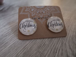 Cabochon Ohrstecker und Ohrclips in 12mm, 14mm, 16mm, 20mm und 25mm ( white merry christmas)