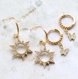 Ohrringe Gold mit Zirkonia Anhänger ( Stern und Schmetterling )