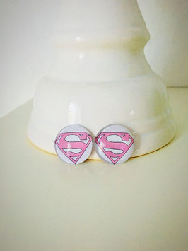 Cabochon Ohrstecker oder Ohrclips  in 12mm, 14mm, 16mm , 20 mm und 25mm  ( pink Supergirl)