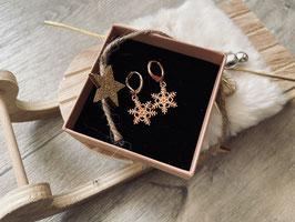 Schneeflocken Ohrringe in rose Gold