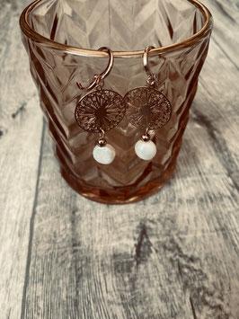Ohrring rosegold ( Pusteblumen süßwasser Perle)