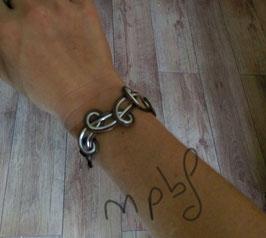 Bracelet entrelas  marron/argenté