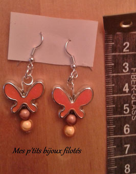 Boucles d'oreille papillon orange