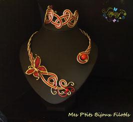 Bracelet tressé or/rouge