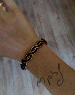 Bracelet tressé cuivre/noir