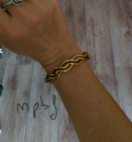 Bracelet tressé or/marron