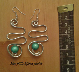 Boucles d'oreille serpentin turquoise