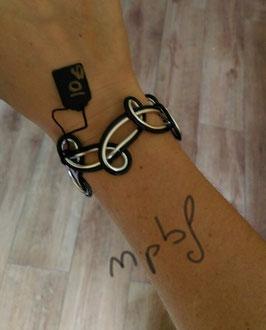 Bracelet double noir argenté
