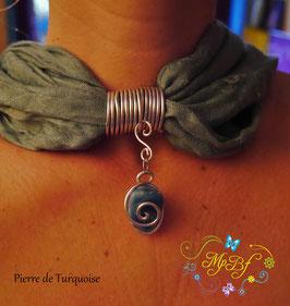 Bijou de foulard Pierre Turquoise