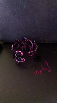 Bracelet tressé fushia/noir