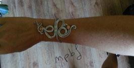 Bracelet argenté perles marron