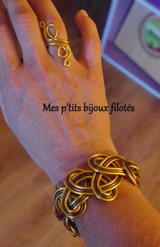 Bracelet tressé doré/marron