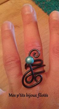 Bague réglable noire perle bleue