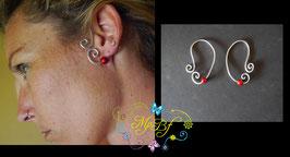 Bijou d'oreille argenté perle rouge