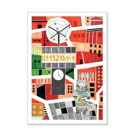 Postkarte Weltzeituhr