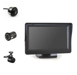 4,3 inch monitor met mini achteruitrijcamera naar keuze