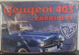 Peugeot 403 cabriolet metalen nostalgische muurplaat