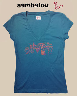 """T-shirt collection femme """"5 continents"""" blue"""
