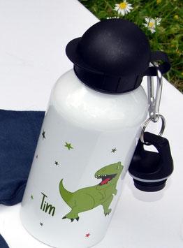 Trinkflasche - personalisiert mit Namensaufdruck und T-Rex