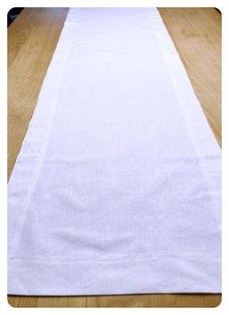 Tischläufer 40x140 cm mit breiter Blende aus Halbleinen - weiß