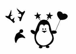 -SET- Pinguin mit 4 Accessoires