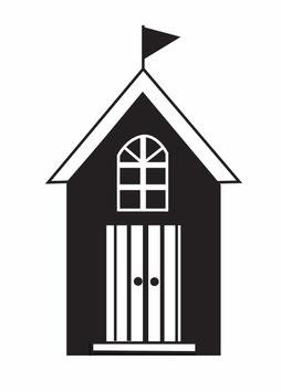 Haus mit gestreifter Tür