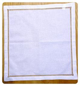 Deckchen 40x40 cm mit schmaler Blende und Hohlsaum