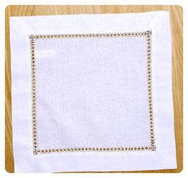 Deckchen 30x30 cm mit breiter Blende und Hohlsaum