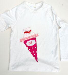 Shirt für den 1. Schultag - personalisiert mit Namensaufdruck und Schultüten-Applikation