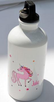 Trinkflasche - personalisiert mit Namensaufdruck und Einhorn