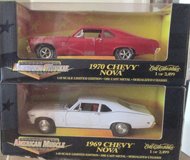 1969 / 1970  Chevy Nova 1/2499 Ertl Matched Set