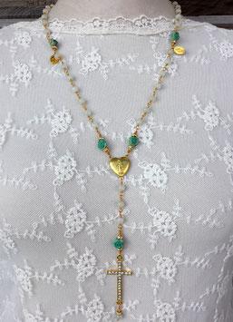 Gesegneter Rosenkranz *MYSTIC JADE* - vergoldet - mit Röschen aus Howlith