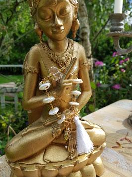 *NAMASTÉ* Buddha-Armband mit Perlen & Bergkristall *vergoldet*