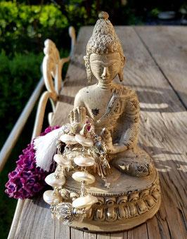 *NAMASTÉ* Buddha-Armband mit Perlen & Bergkristall *versilbert*