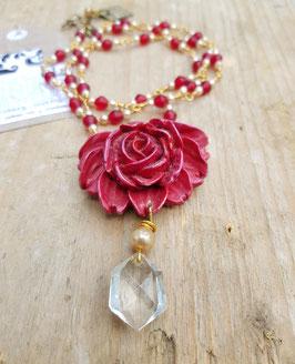 Schmuckset *ROTE ROSE* - vergoldetes Modeschmuckset aus Halskette, Armband & Ohrringen