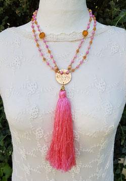 Mala Style Necklace *DELICIOUS AMBER ROSE*  mit Jade, Bernstein, Orangencalcit, Engels- Korallenröschen und einer floral gravierten Bronzeplatte