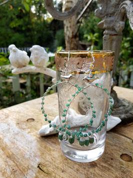 Verspielte Smaragd-Creolen *SMARAGDVOGEL* - riesengroß und mit echten Smaragden- versilbert