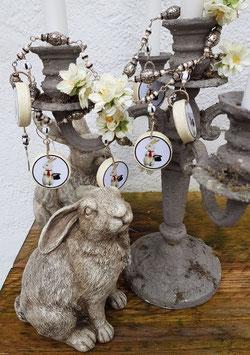 Ostergirlande (Unikat) *MAGIC BUNNY* mit weißen Kirschblüten & versilberten Ostereiern