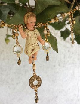 ***Friedensfürst*** Gesegnete Advents- und Weihnachtsgirlande CHRISTMAS CONSCIOUSNESS glorifying garland mit antiker Elastolin-Jesuskind-Figur