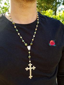 Unikat Halskette *GREENWOOD SPIRIT* mit 800er-Silberkreuz, Jaspis & Howlith