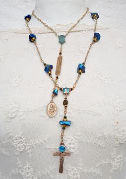 Gesegneter Unikat-Rosenkranz *INTO THE BLUE* vergoldet, mit türkisfarbener Jade & blauschillerndem Kobalt-Auraquarz