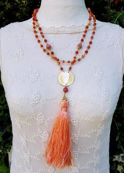 Mala Style Necklace *SUNSHINE IN MY HEART* mit natürlich gemusterter, handgeschliffener Apfelkoralle, Rhodochrosit und 800er Silber