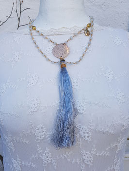 Mala Style Necklace *PLANET OF FLOWERS* mit wasserblauer Jade & polierter Bronzeplatte