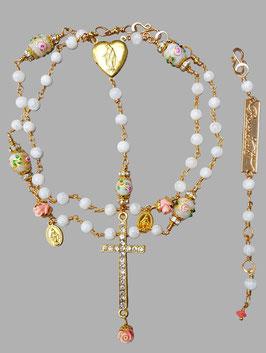 *A SECRET GARDEN OF VENICE* Gesegnete Rosenkranz- Halskette mit Mondstein, antiken, venezianischen Muranoglasperlen (victorian wedding cake beads) & Röschen aus Engelskoralle, vergoldet