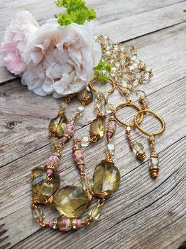 Unikat-Schmuckset *SPIRITUAL WEDDING* mit Lemonquarz und antiken Muranoglas-Perlen